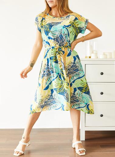 XHAN Multi Beli Lastikli Asimetrik Çiçek Desenli Elbise 0Yxk6-43869-12 Renkli
